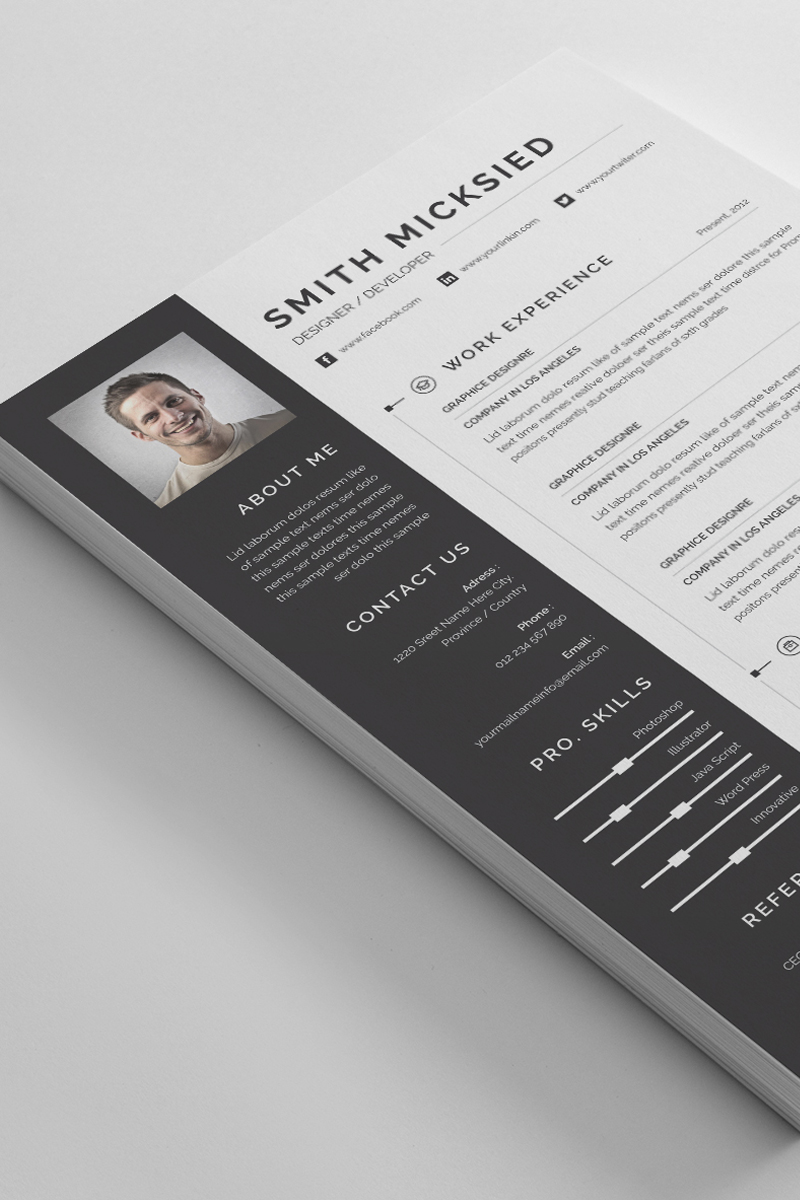 Smith Mickside Word Resume Template - screenshot