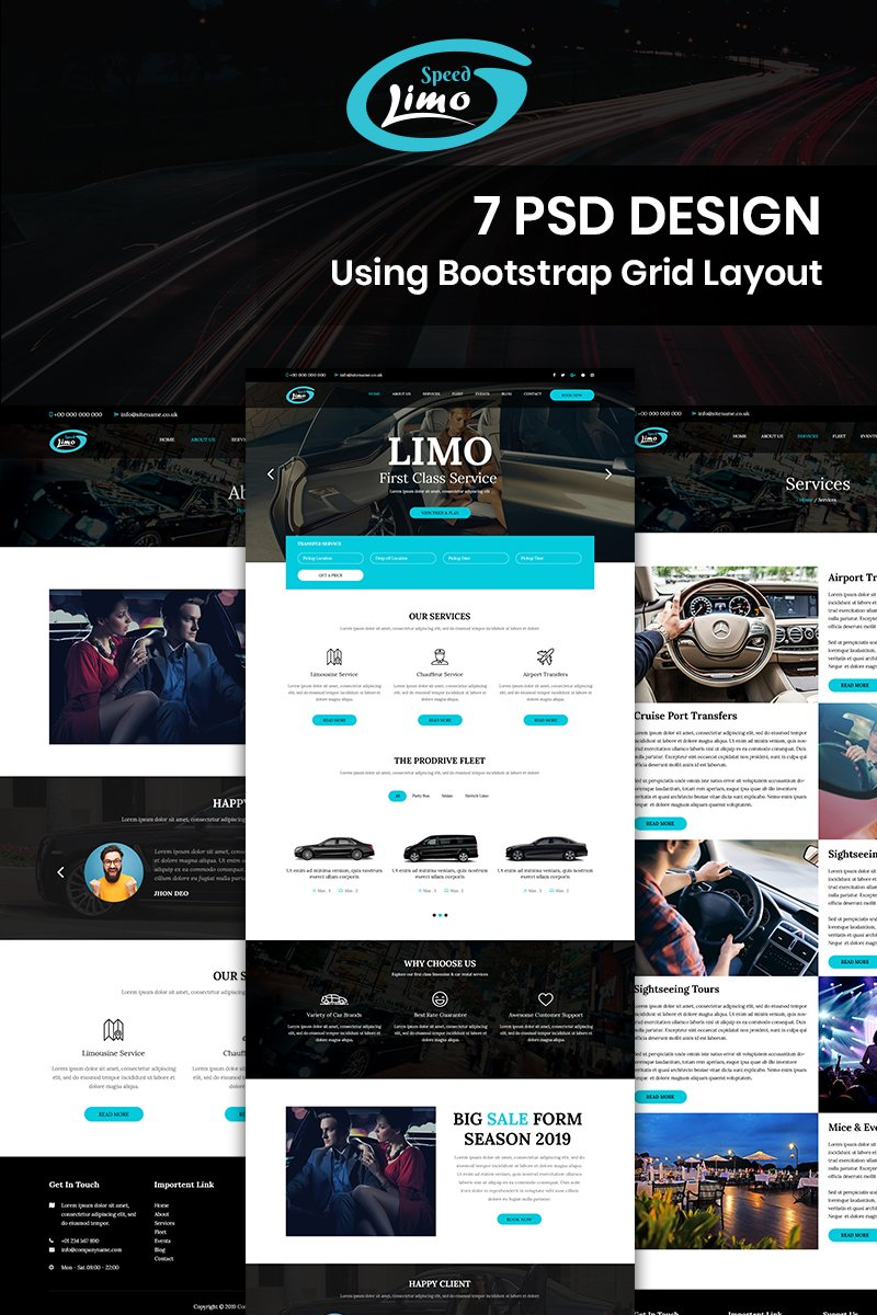 """Speed Limo - Limo Car Services"" BootstrapPSD模板 #93234 - 截图"