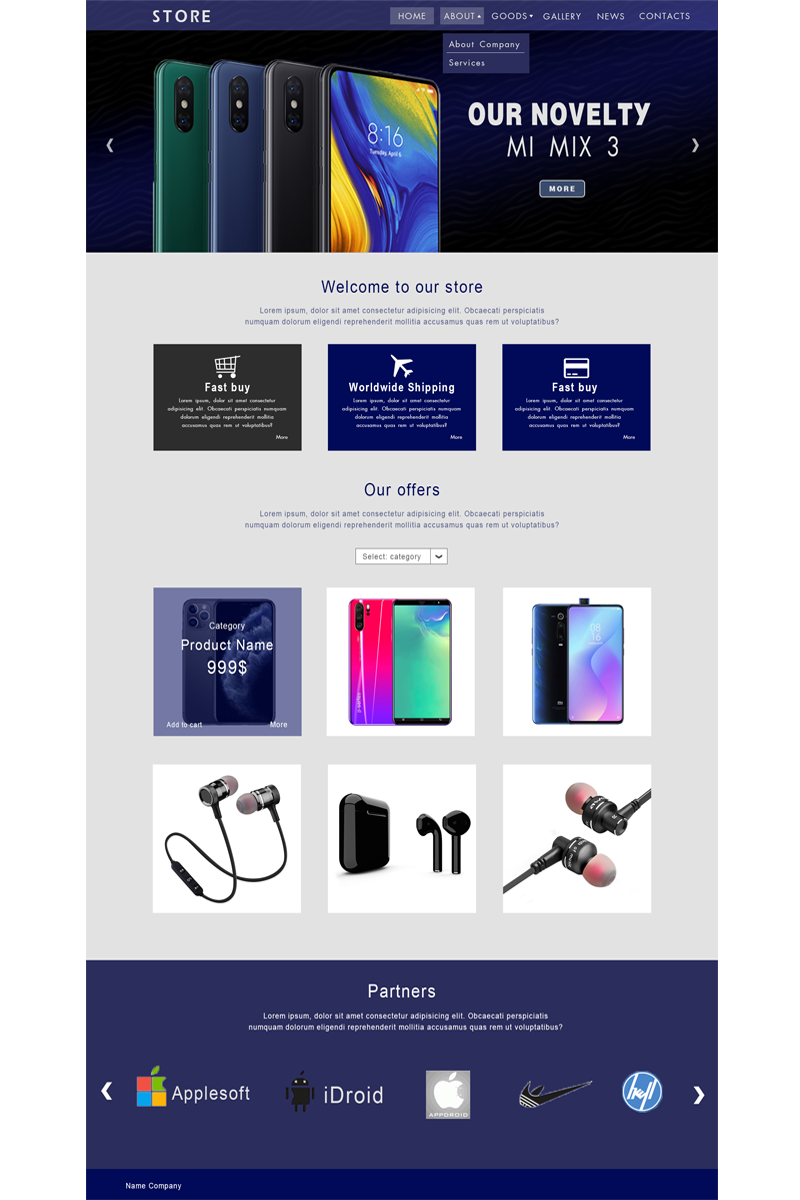 Store PSD Template - screenshot