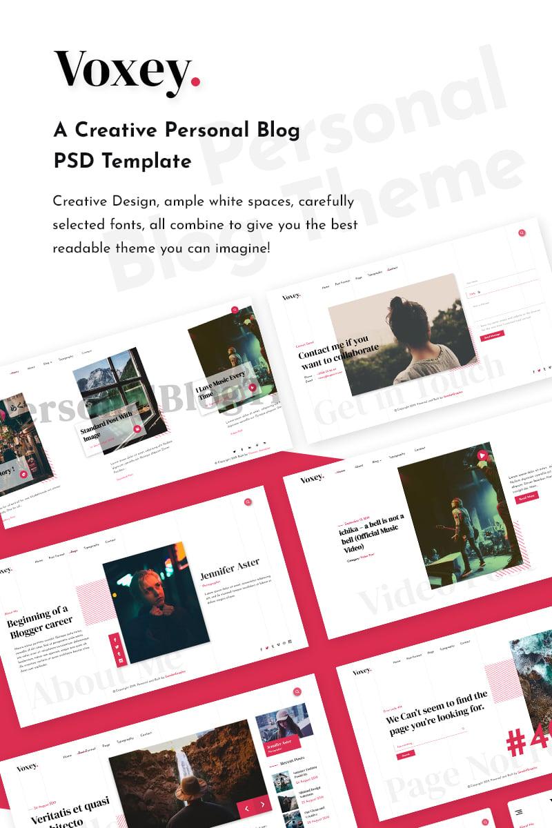 Voxey | A Creative Personal Blog PSD Template - screenshot
