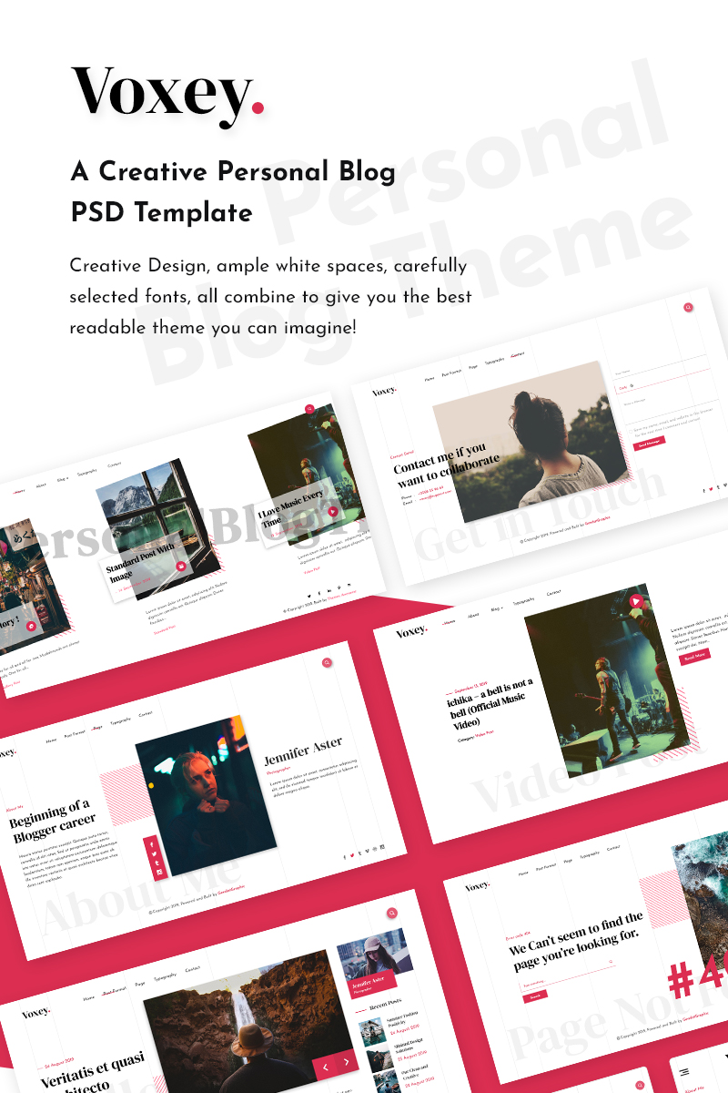 Voxey   A Creative Personal Blog Template Photoshop №93228 - screenshot