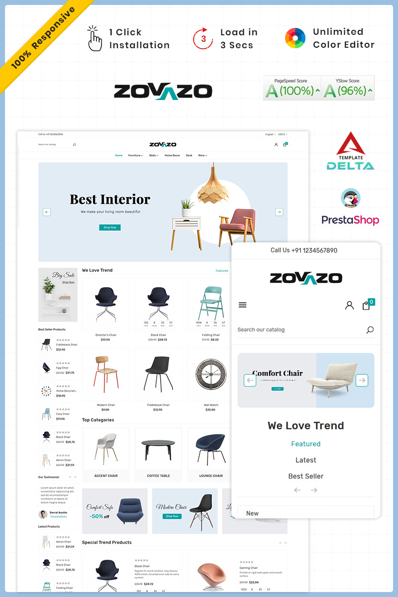 Zovazo Furniture Wood Mega Store PrestaShop Theme