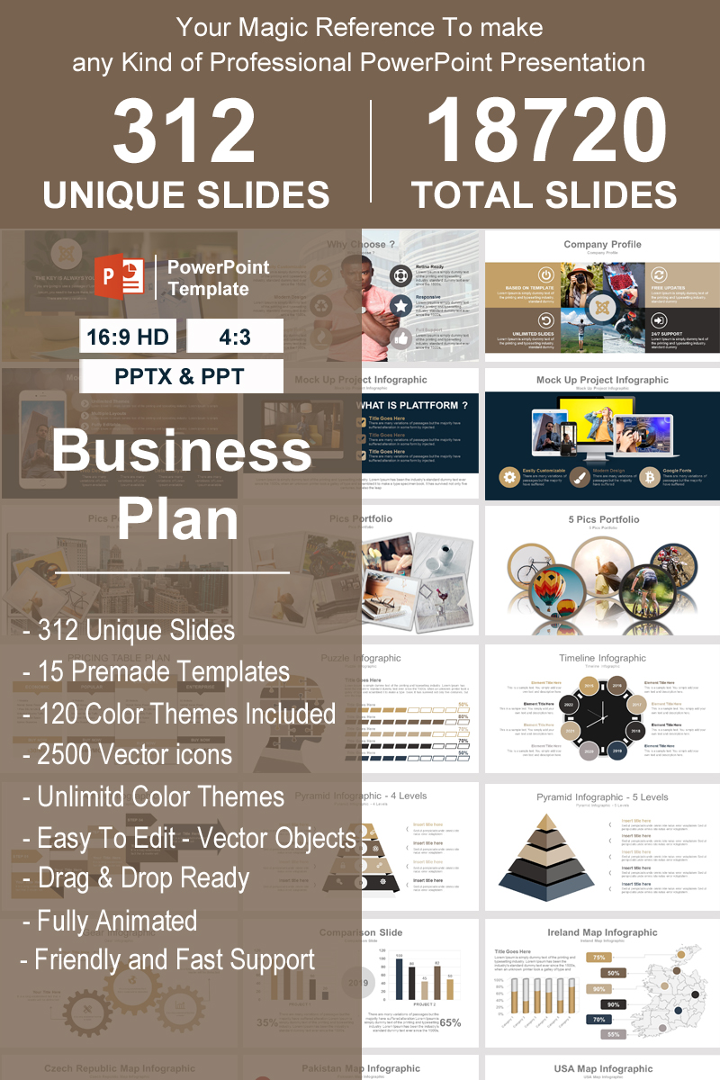 """Business Plan -"" 奖金PowerPoint 模板 #93387"
