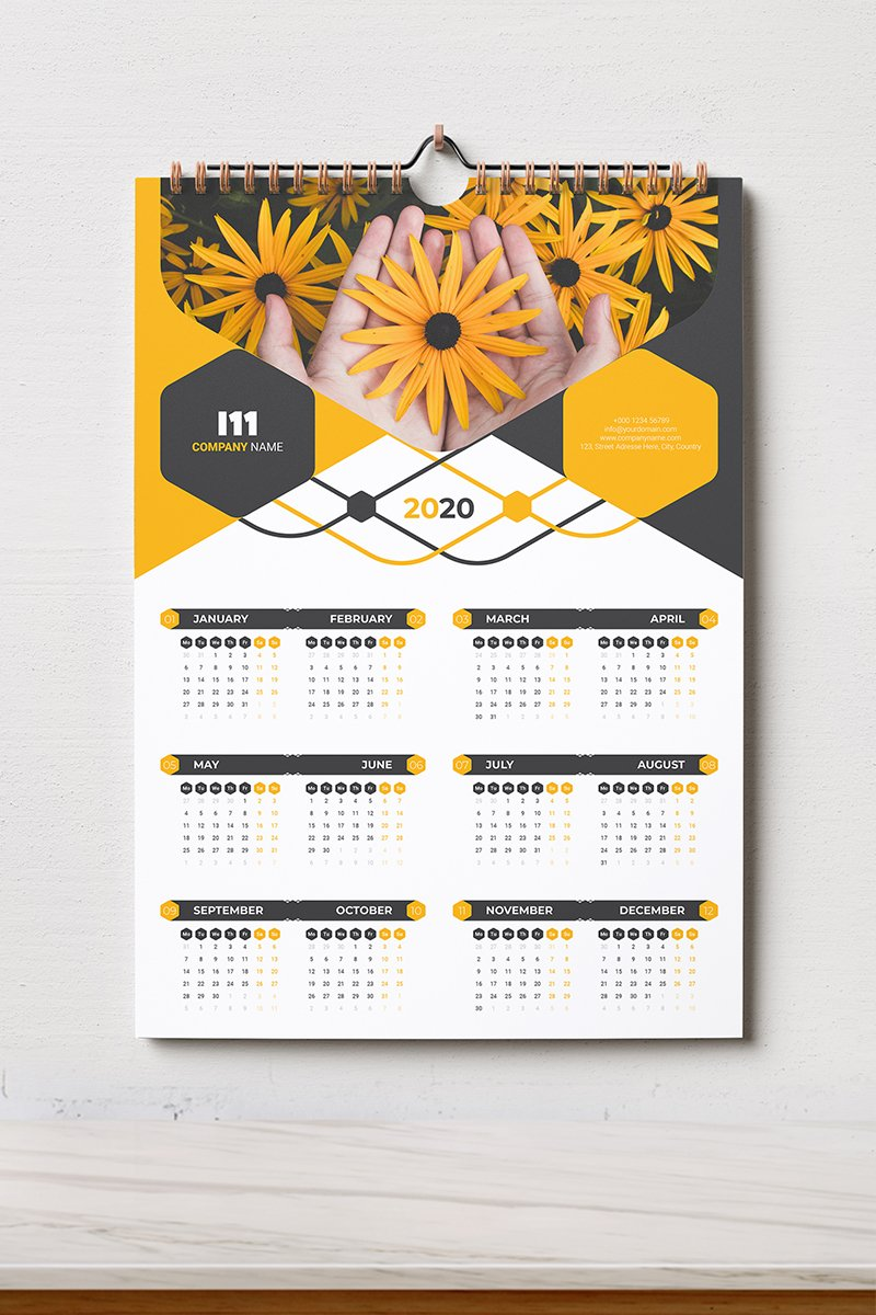 Calendar 2020 With 5 Color Styles Planner