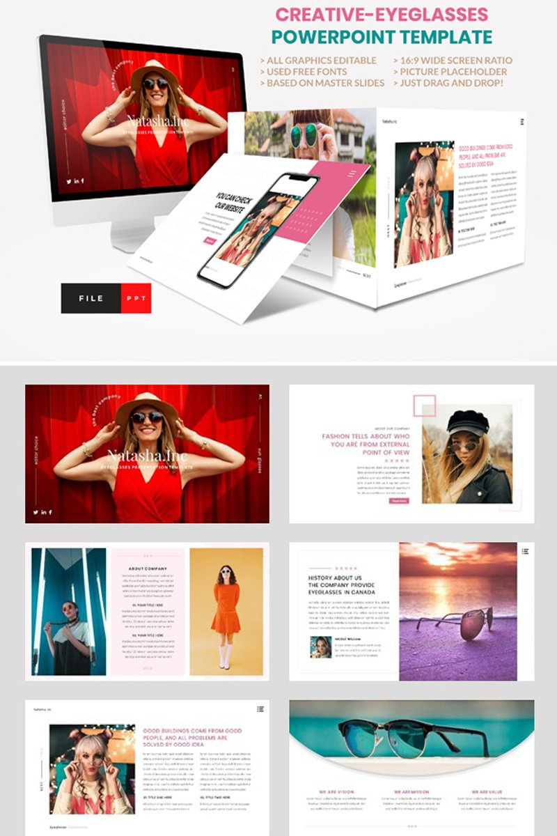 """Fashion - Eyeglasses"" PowerPoint Template №93360"