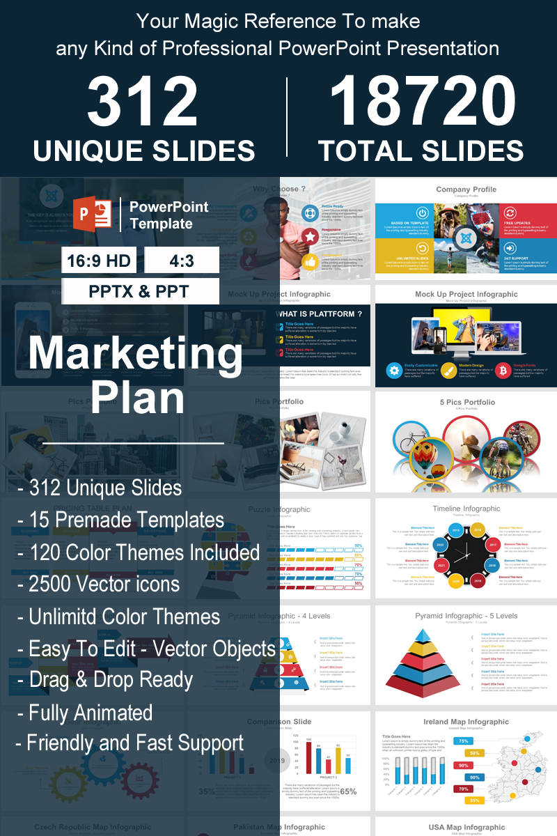 """Marketing Plan"" 奖金PowerPoint 模板 #93340"