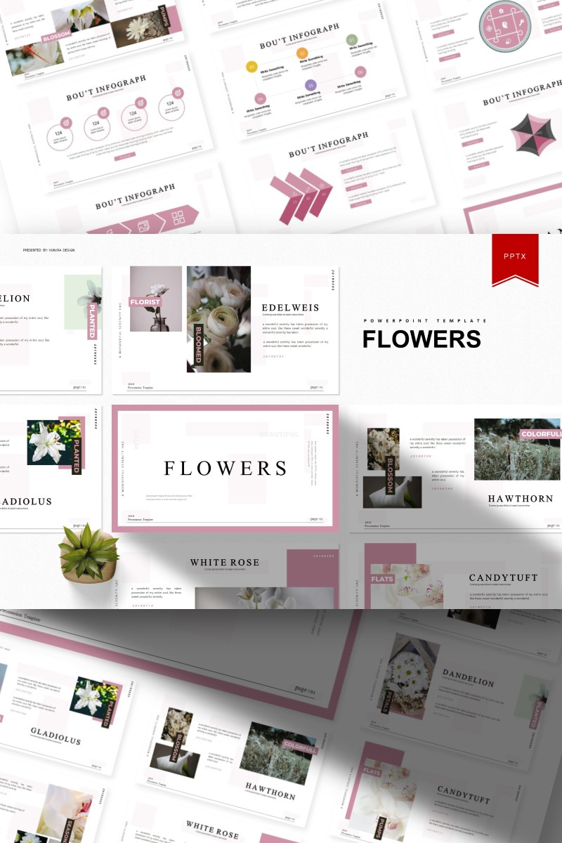 """Template PowerPoint #93391 """"Flowers 