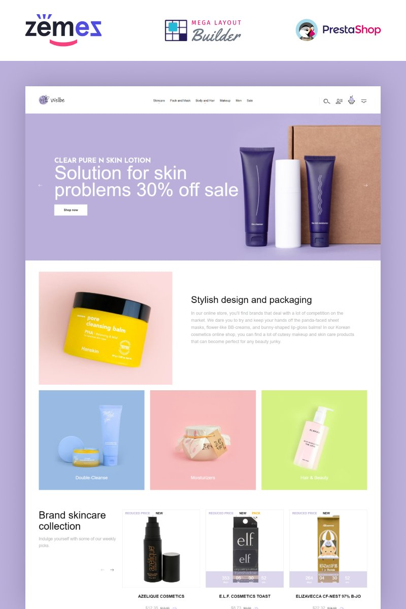 """Wellbe - K-Beauty Online Ecommerce"" thème PrestaShop adaptatif #93317"