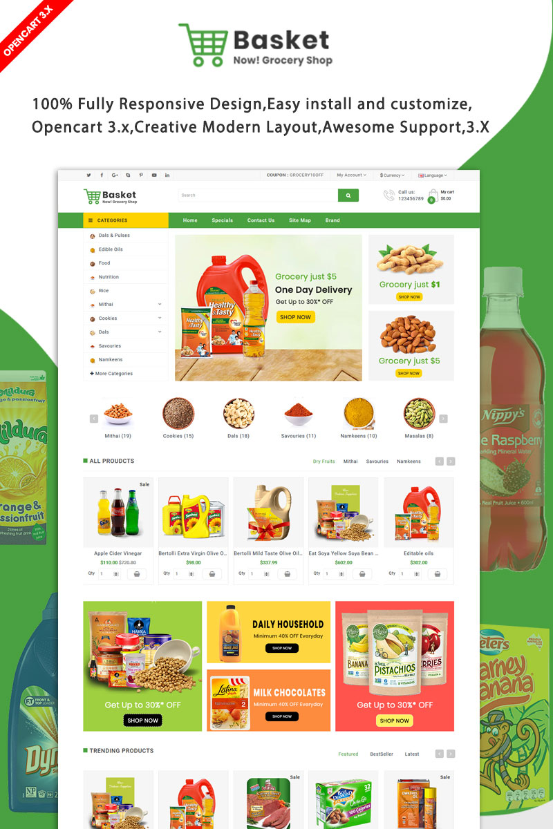"""""""Basket Grocery"""" OpenCart Template №93424"""