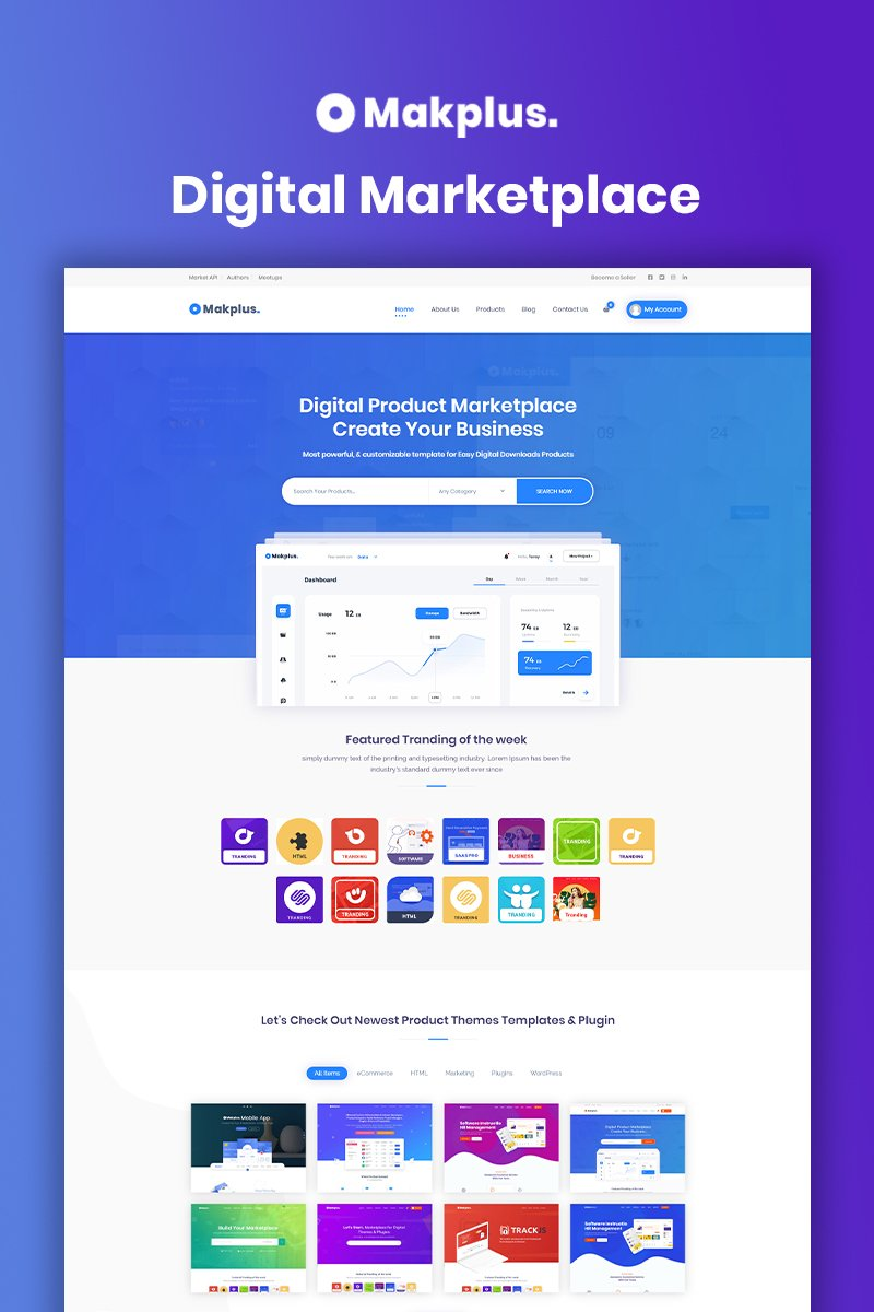 Bootstrap motyw WordPress Makplus - Digital Marketplace #93429