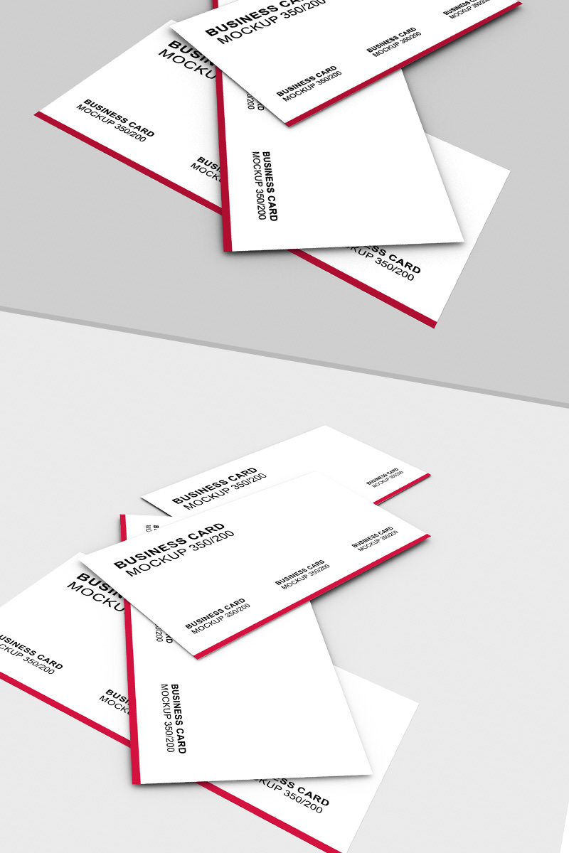 Business card scattered on a sruface Product Mockup