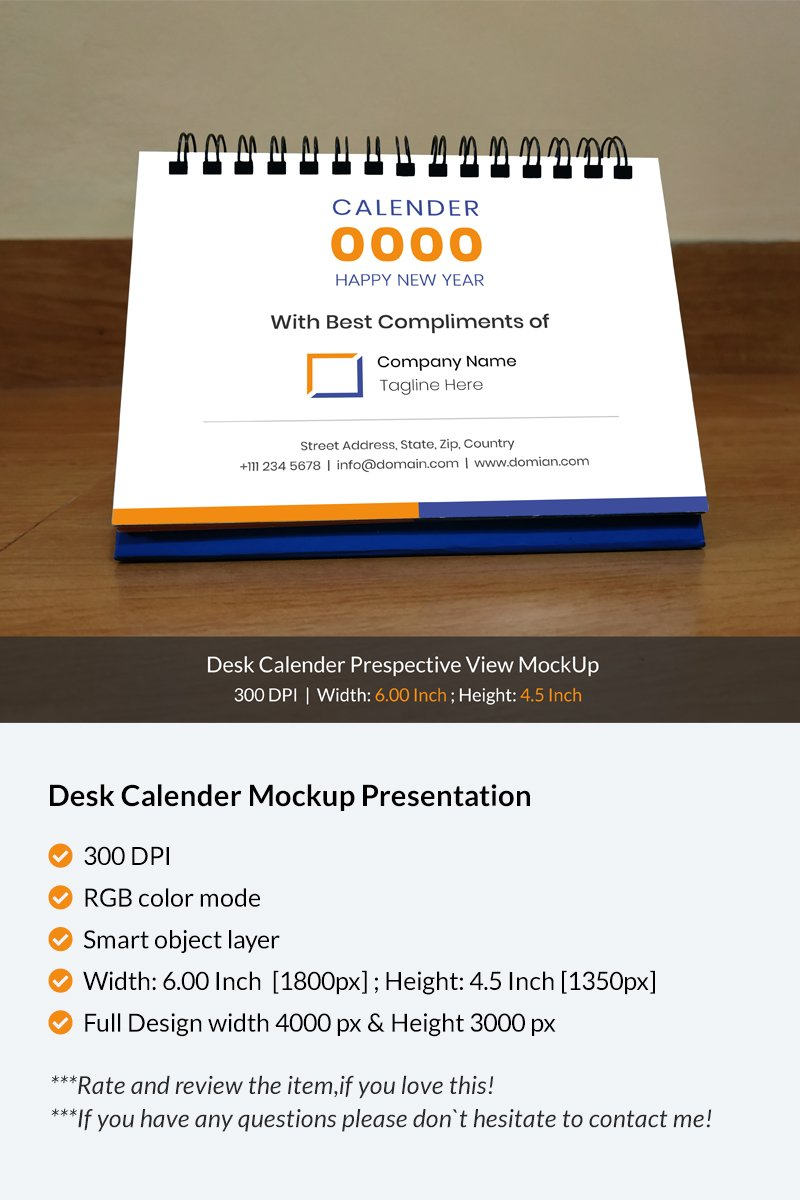 Desk Calendar Perspective View Product Mockup - screenshot