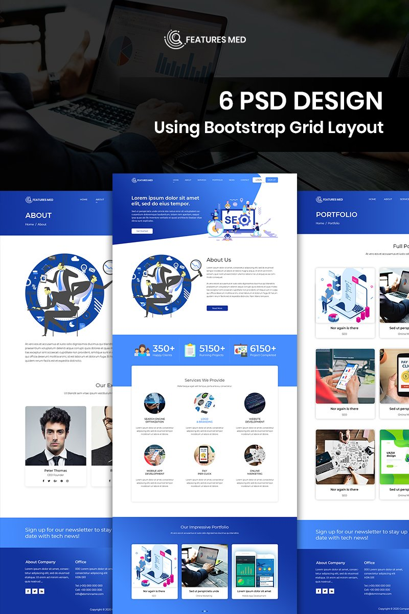 """""""Features Med - SEO Services"""" BootstrapPSD模板 #93434"""