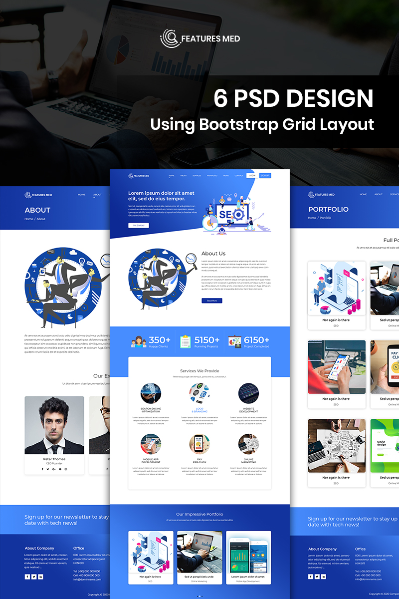 Features Med - SEO Services PSD Template - screenshot