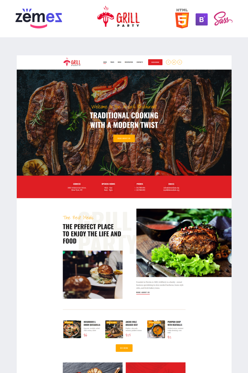 """""""GrillParty - Barbecue Restaurant"""" Responsive Website template №93459"""