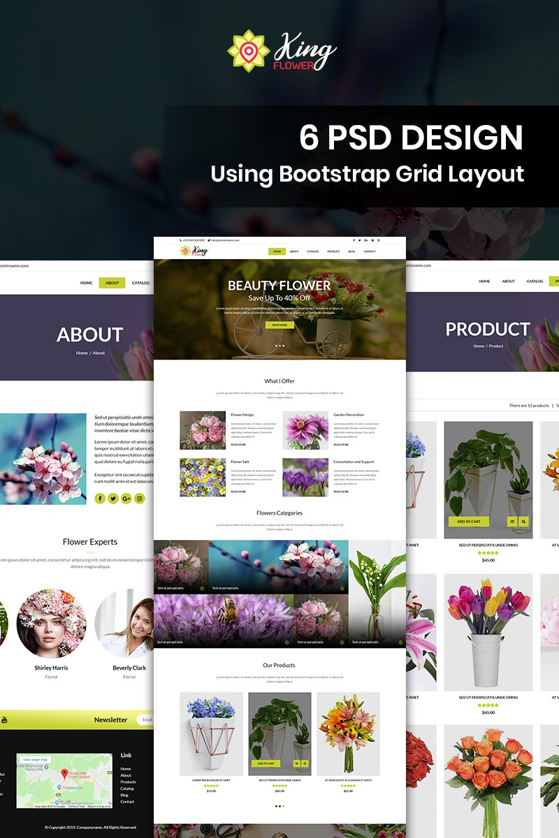 King Flower shop - Flower Shop PSD Template