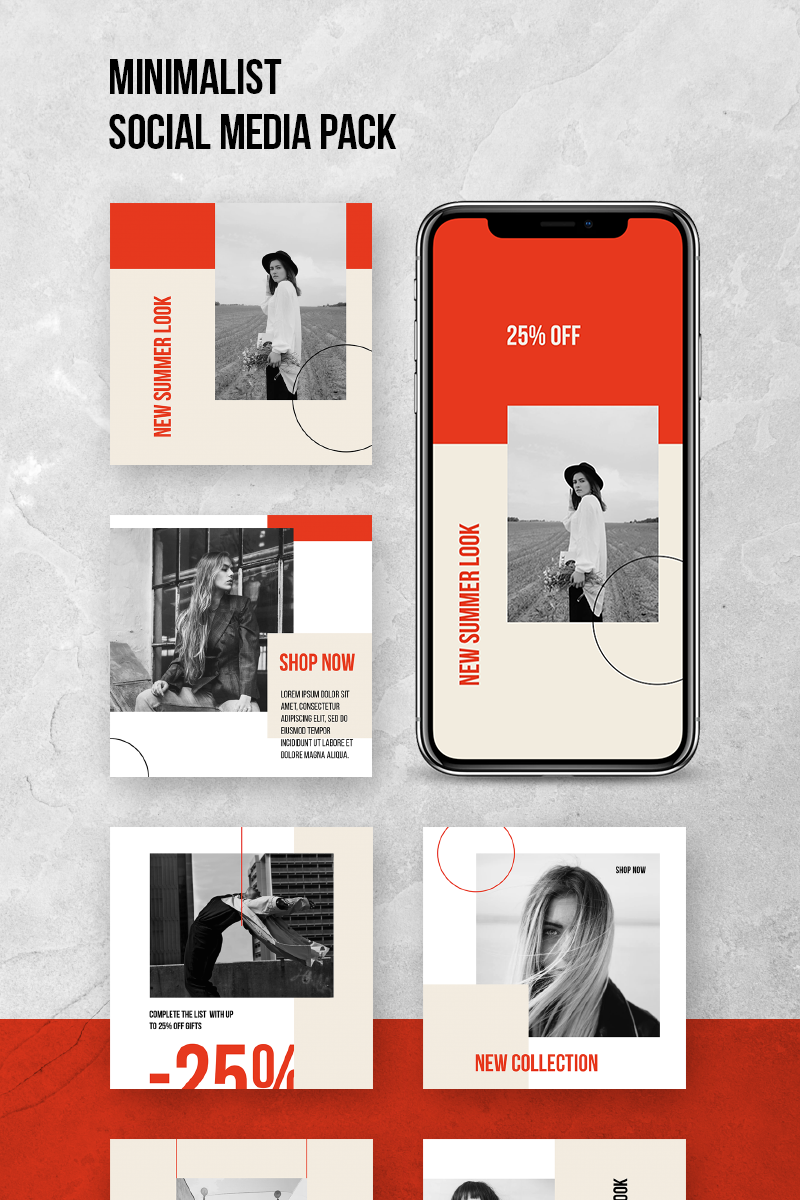 Minimalist Social Pack Social Media - screenshot