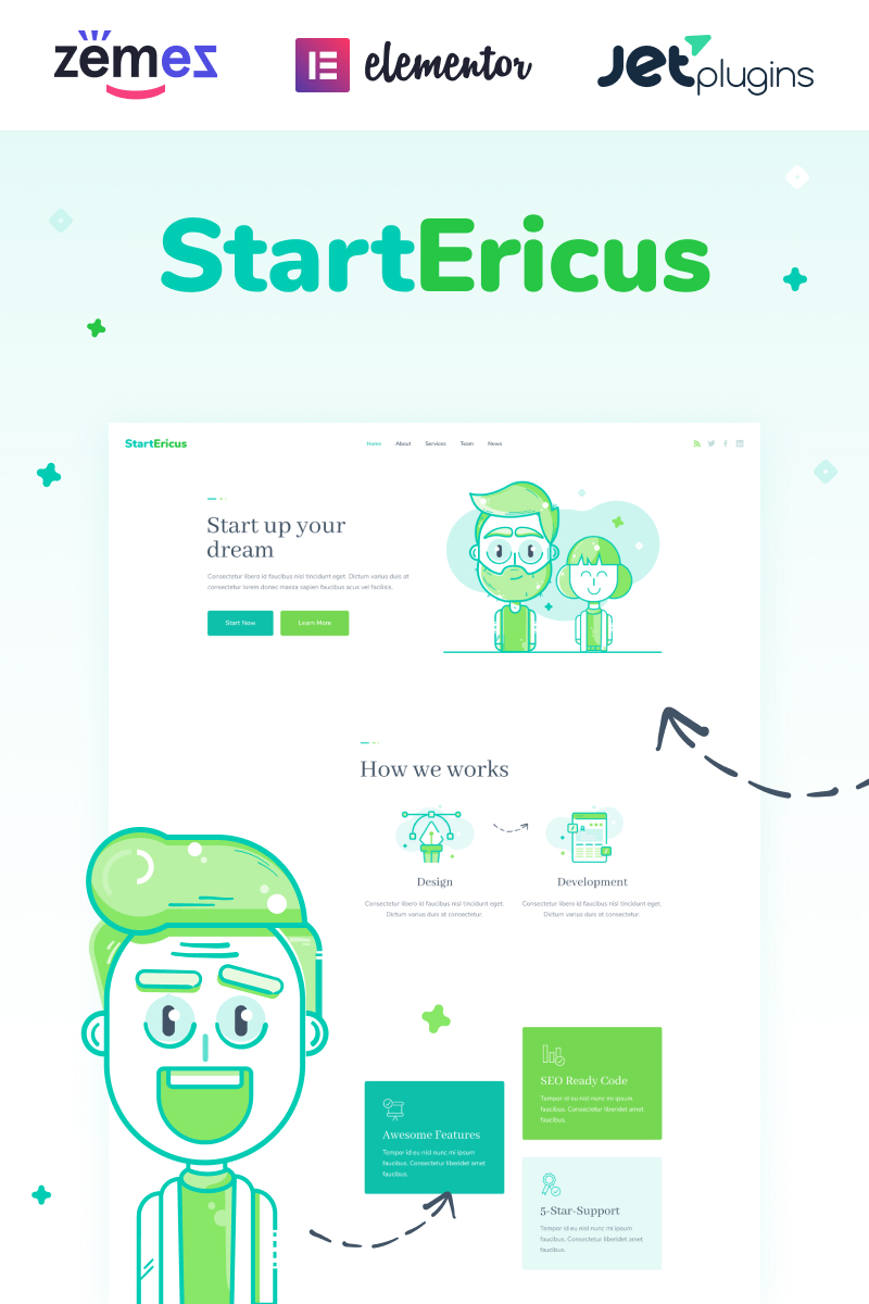 "Modello WordPress Responsive #93491 ""StartEricus - Clean and Minimalistic Startup Landing Page"""