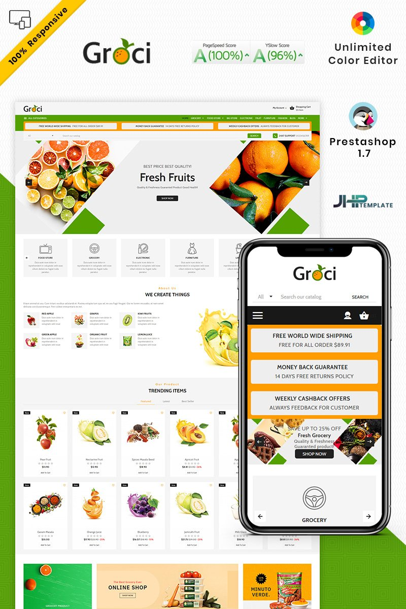 "PrestaShop Theme namens ""Groce - The Grocery Food Store"" #93428"