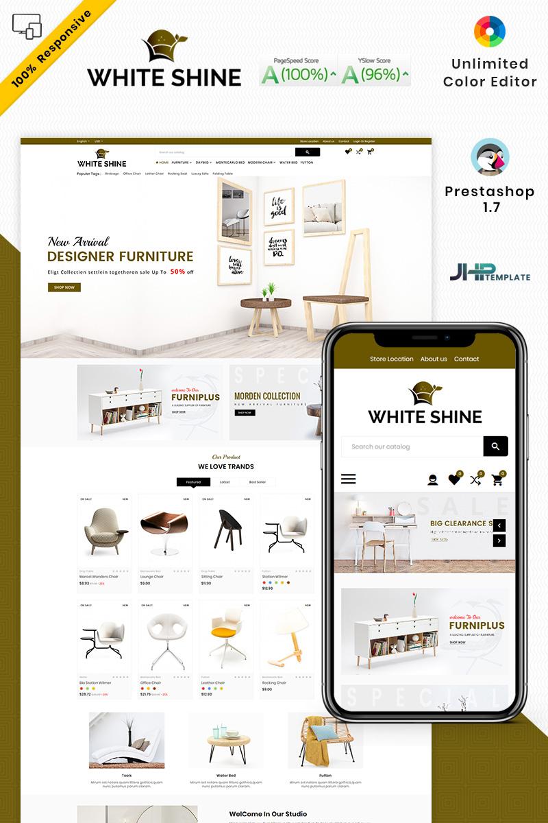 """PrestaShop Theme namens """"White Shine - Wood Furniture Mega"""" #93426"""