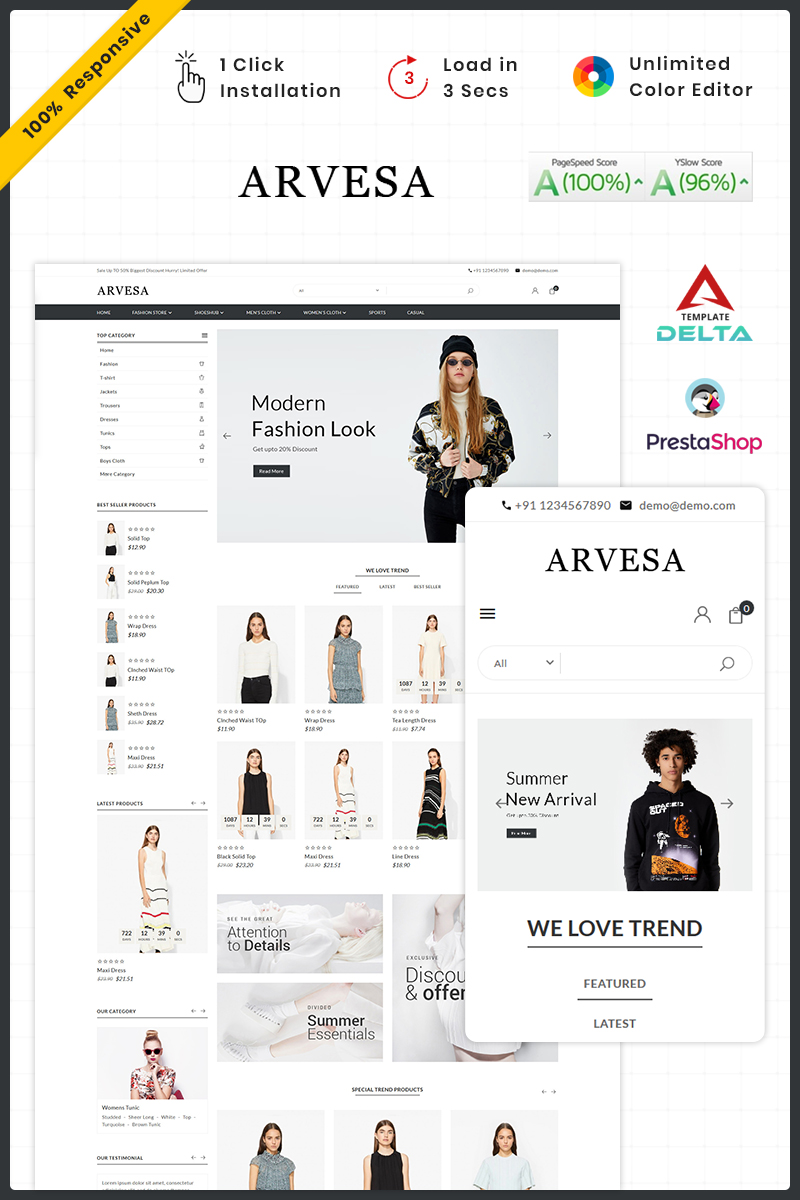 Responsive Fashi Arvesa - Fashion Store Prestashop #93430