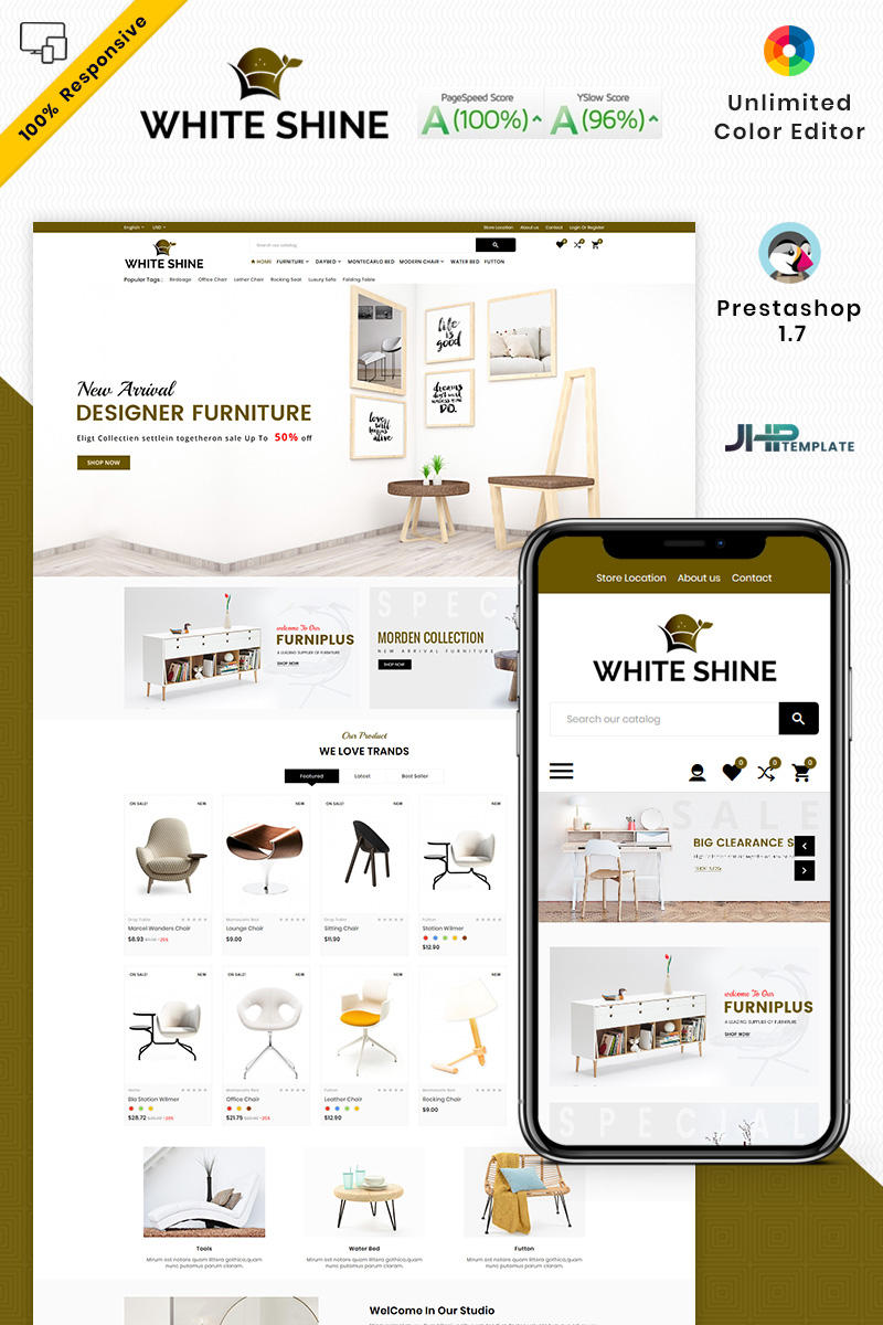 "Responzivní PrestaShop motiv ""White Shine - Wood Furniture Mega"" #93426"