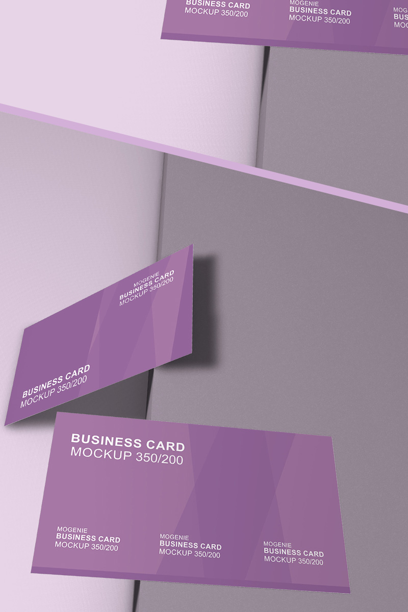 Set of business cards on a surface Product Mockup