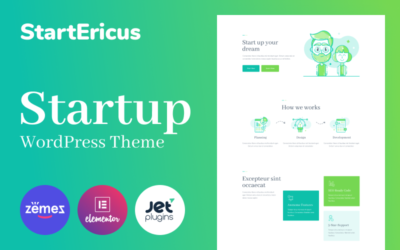 """StartEricus - Clean and Minimalistic Startup Landing Page"" Responsive WordPress thema №93491"
