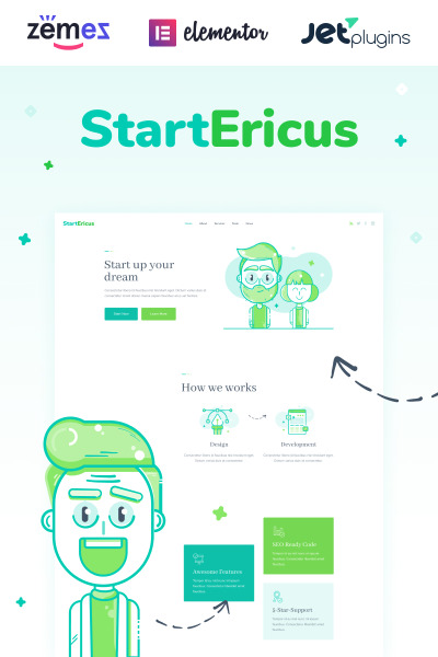 StartEricus - Clean and Minimalistic Startup Landing Page