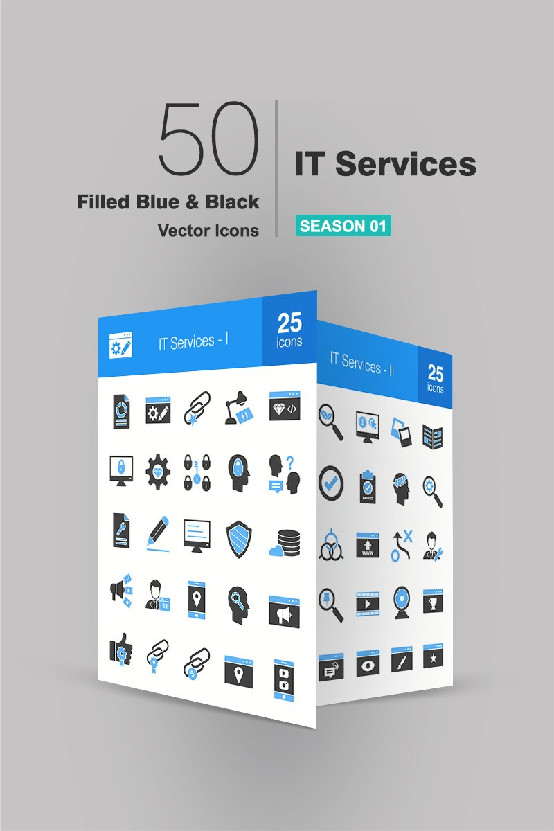 50 IT Services Filled Blue & Black Iconset Template - screenshot