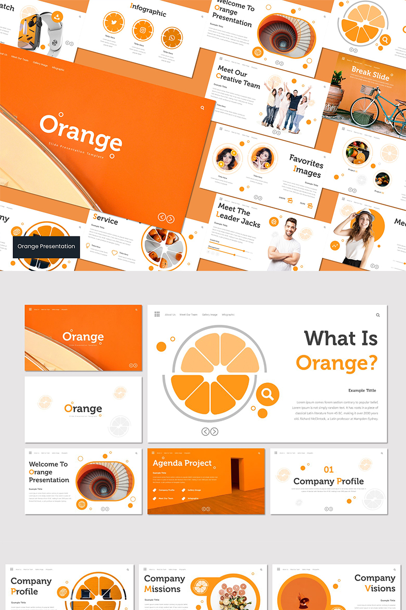 """Orange"" Keynote Template №93537"