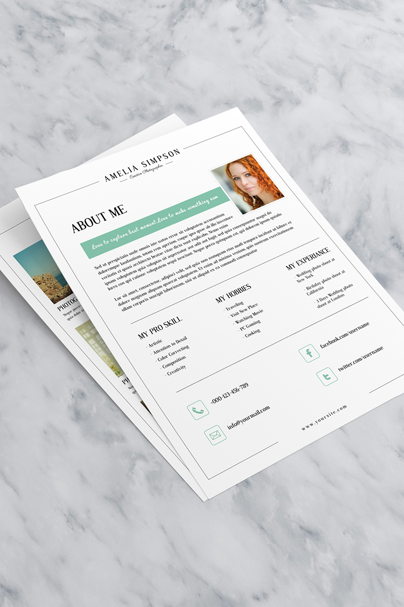 Photographer About Me Page Corporate Identity Template