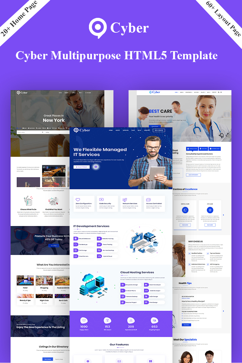 "Plantilla Web ""Cyber - Multipurpose HTML5"" #93531 - captura de pantalla"