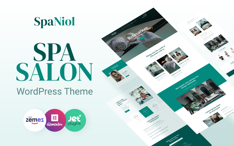 """""""SpaNiol - Charming and Relaxing Spa"""" Responsive WordPress thema №93592"""