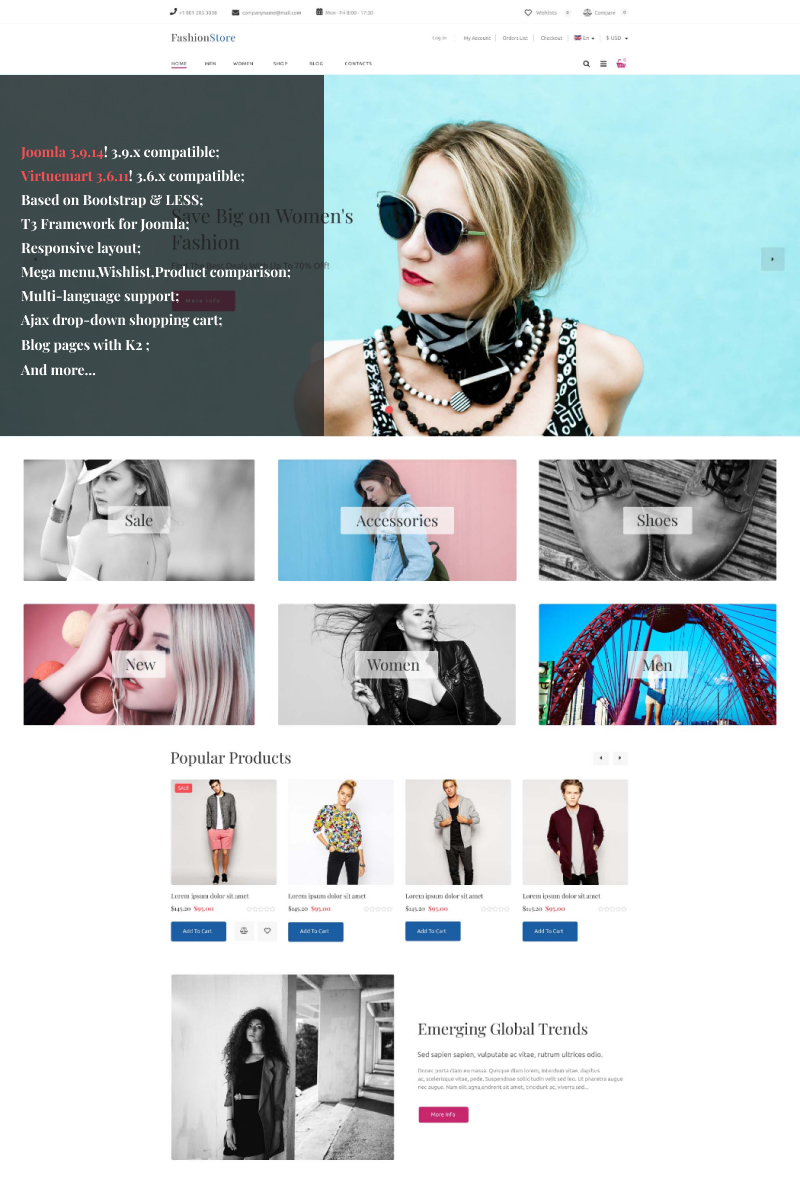 """Fashion Store"" - адаптивний VirtueMart шаблон №93636"