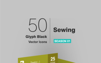 50 Sewing Glyph Icon Set