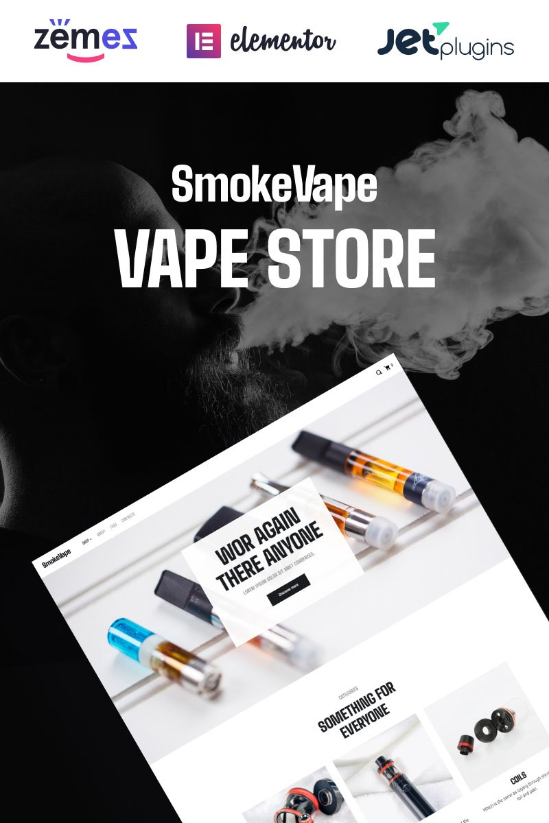 SmokeVape - Vape Shop eCommerce Websites Tema WooCommerce №93615