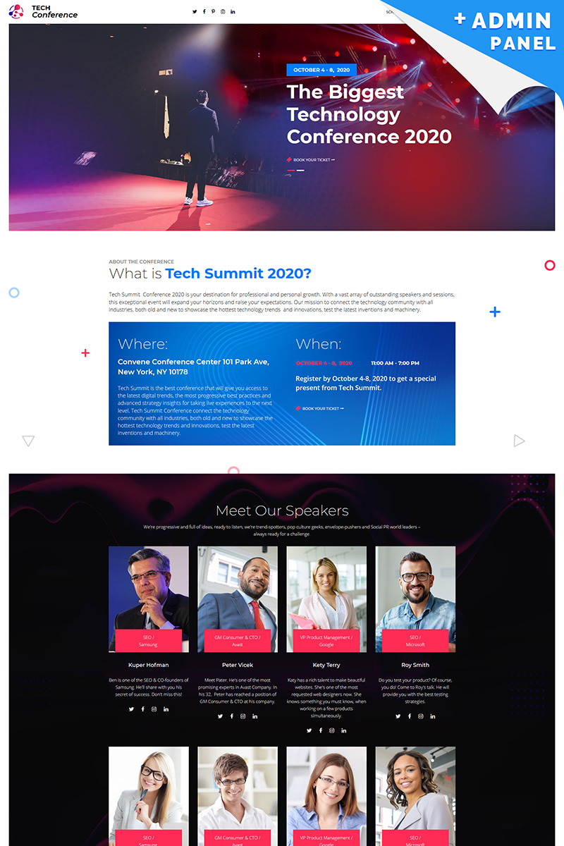 Tech Conference Landing Page Template - screenshot