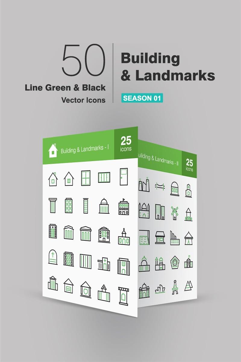 50 Buildings & Landmarks Line Green & Black Iconset-mall #93766