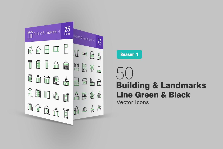 50 Buildings & Landmarks Line Green & Black Iconset Template