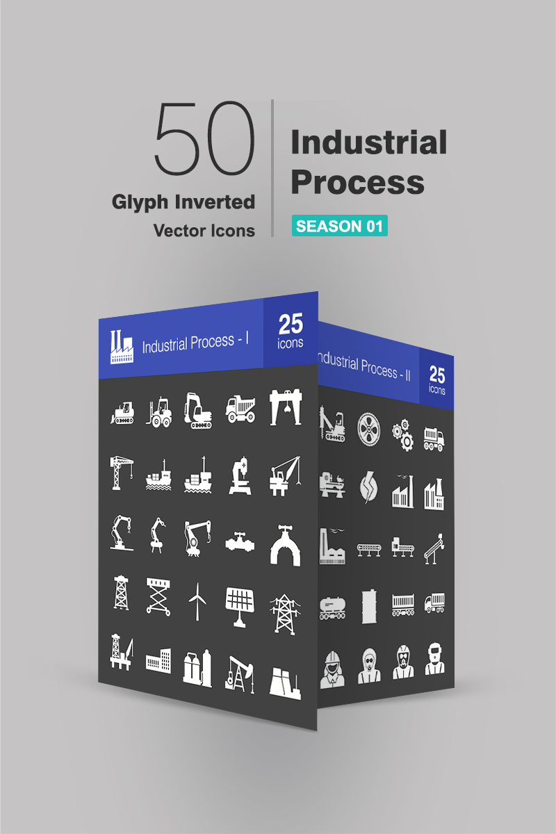 50 Industrial Process Glyph Inverted Iconset Template