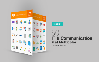 50 IT & Communication Flat Multicolor Icon Set
