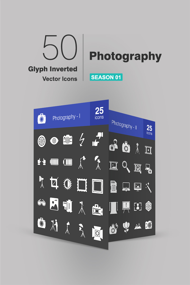50 Photography Glyph Inverted Iconset-mall #93735