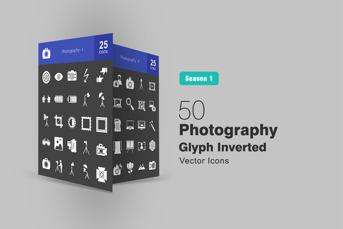 50 Photography Glyph Inverted Iconset Template