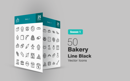 50 Bakery Line Icon Set