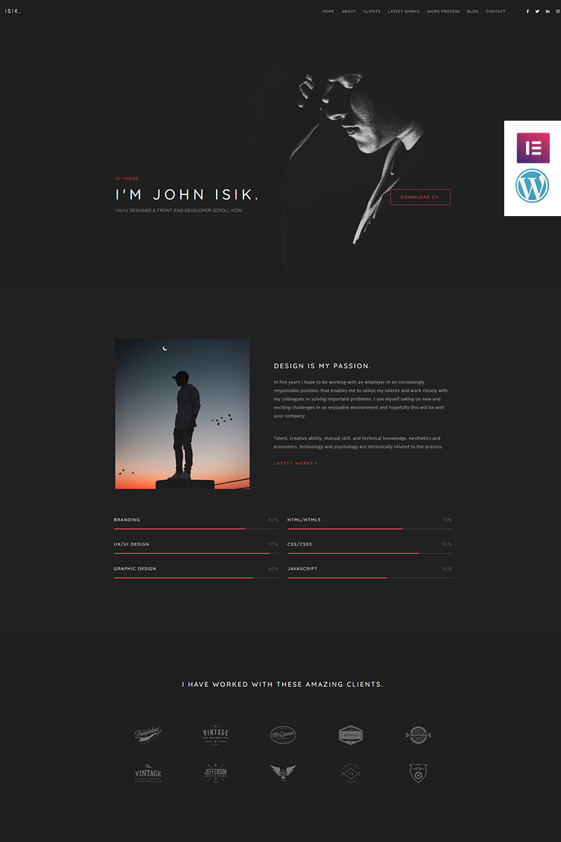 Bootstrap Isik - Personal Portfolio Landing Page Wordpress #93864