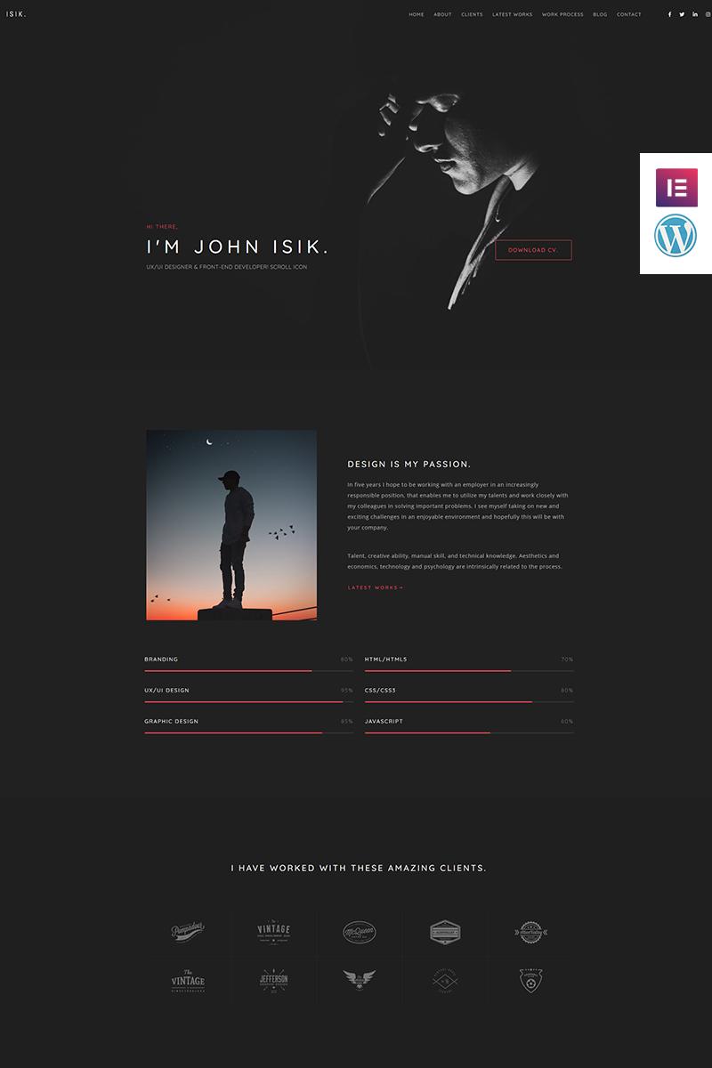Bootstrap Isik - Personal Portfolio Landing Page WordPress sablon 93864