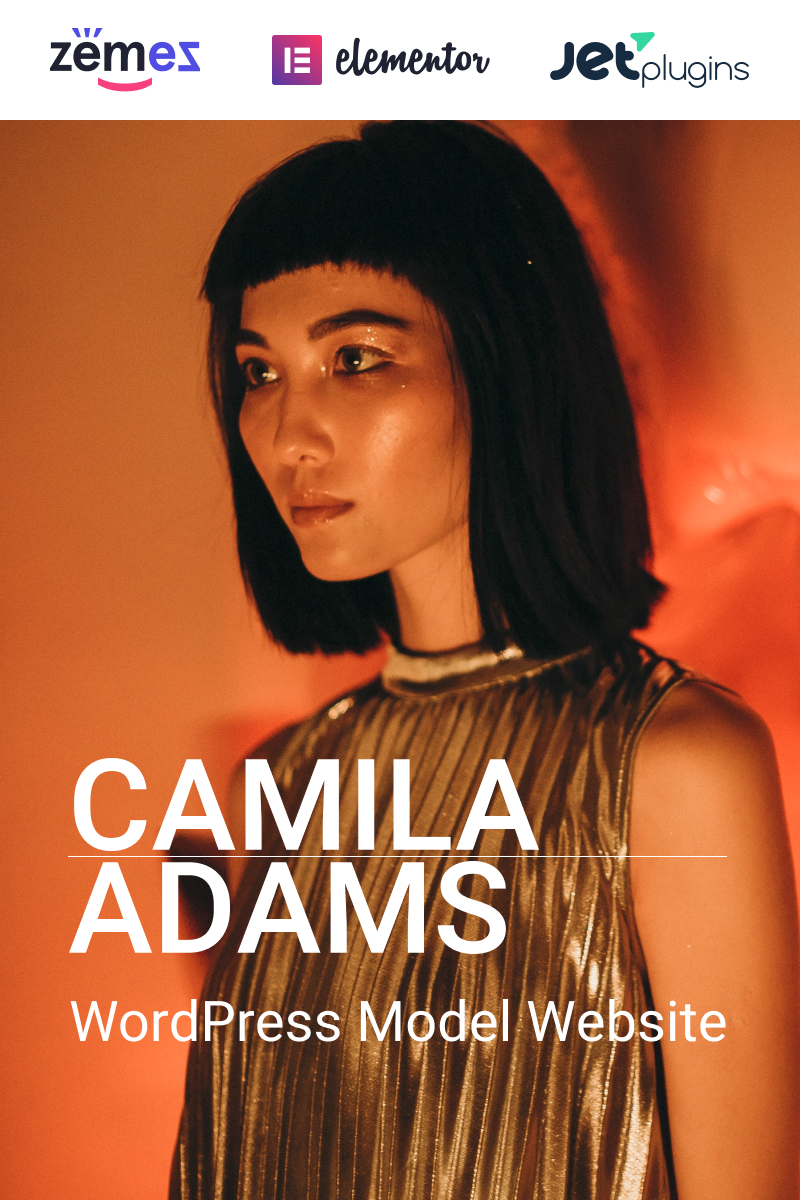 """Camila Adams - Vivid and Responsive Male Model website"" - адаптивний WordPress шаблон №93887"