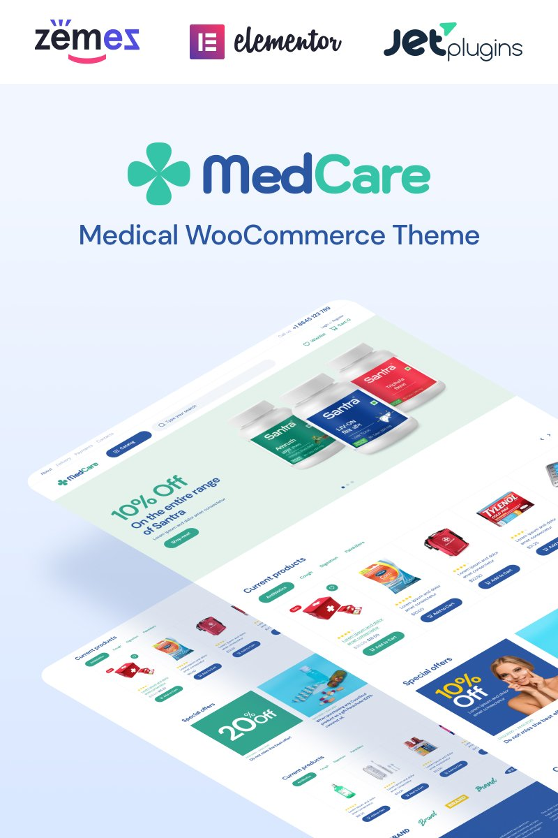 """""""MedCare - Soft and Responsive Pharmacy"""" Responsive WooCommerce Thema №93886 - screenshot"""