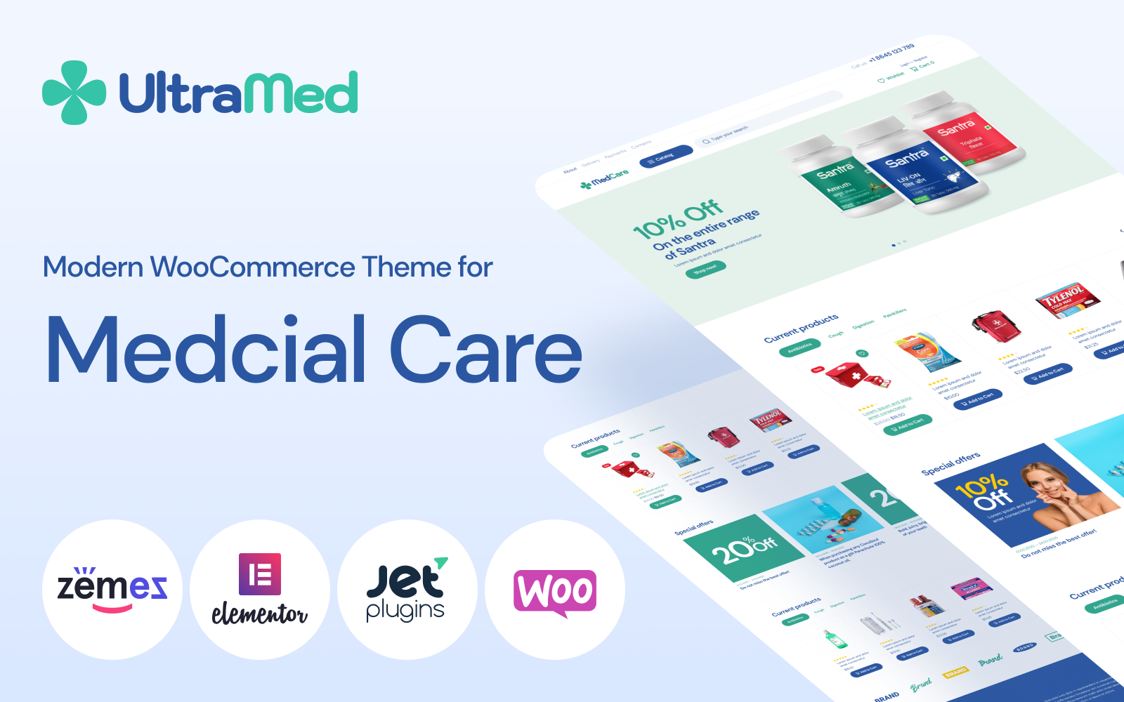 """""""MedCare - Soft and Responsive Pharmacy"""" 响应式WooCommerce模板 #93886"""